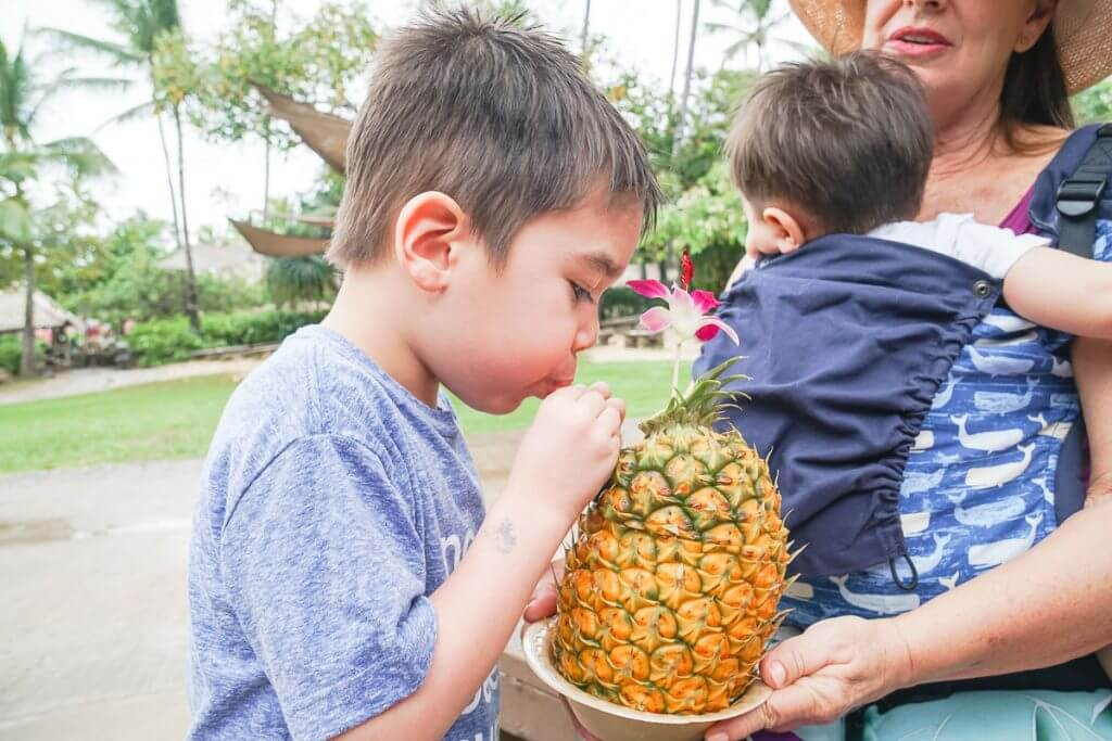 The Polynesian Cultural Center has lots of snacks that are perfect for families on Oahu with kids.