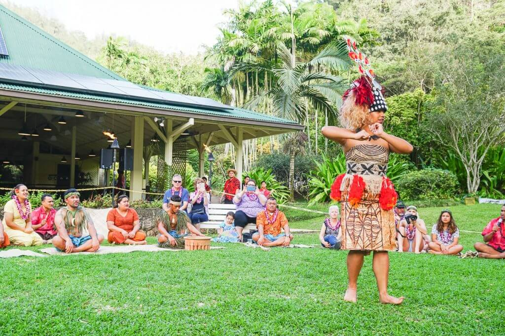 Best Oahu Luau experiences for Families featured by top Hawaii Travel blog, Hawaii Travel with Kids | Samoan Princess dancing at Toa Luau at Waimea Valley on Oahu in Hawaii #toaluau #luau #oahuluau #waimeavalley #samoan
