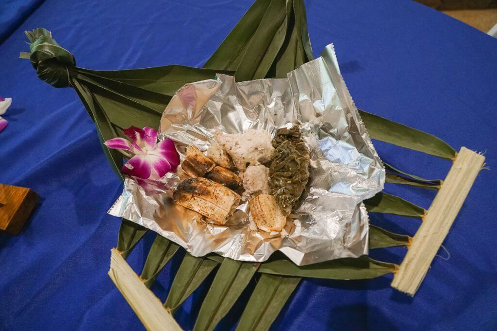 Toa Luau presented green bananas, palusami, and taro root after dinner.
