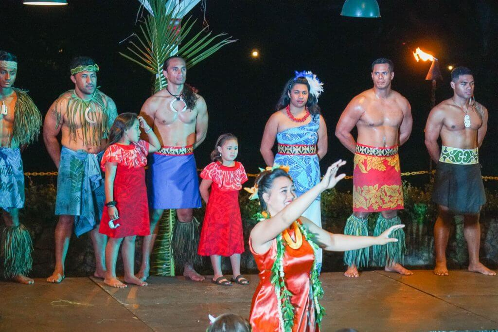 "Dancing to ""Aloha Oe"" at Toa Luau on the North Shore of Oahu, Hawaii"