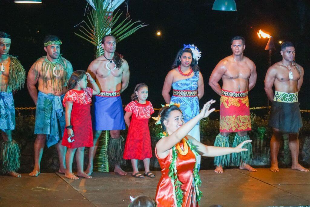 "Dancing to ""Aloha Oe"" at Toa Luau on the North Shore of Oahu, Hawaii"