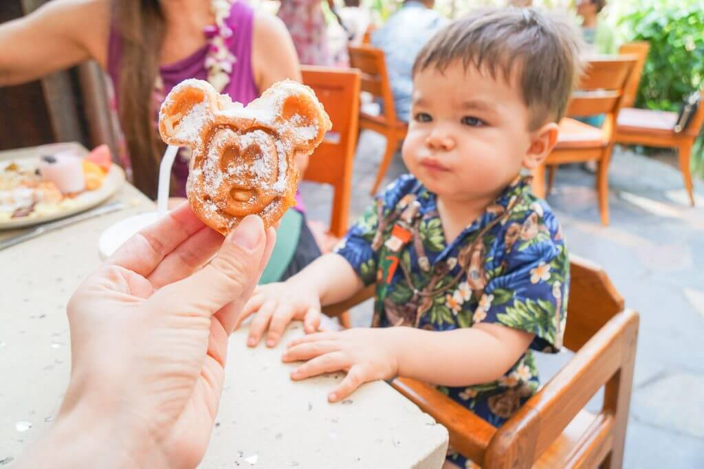 Mickey waffles at Aulani Character Breakfast at Aulani, a Disney Resort & Spa in Hawaii