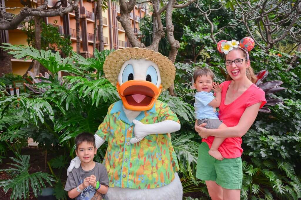 We loved meeting Donald Duck at Disney Aulani Resort on Oahu, Hawaii