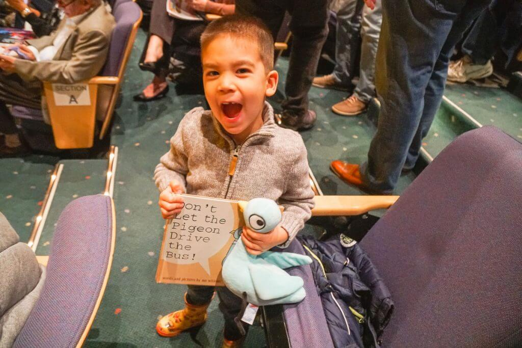 "Photo of ""Don't let the Pigeon Drive the Bus"" and a stuffed pigeon from Mo Willems books"
