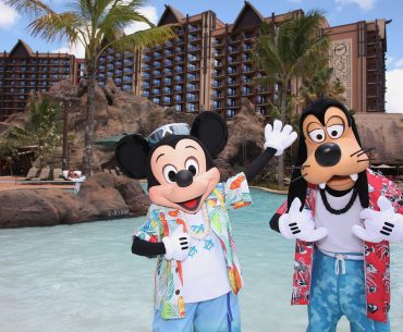 MICKEY MOUSE AND GOOFY VACATION AT AULANI -- With its fun recreation features and restaurants, its comfortable rooms, and its combination of Disney magic with Hawaiian beauty, tradition and relaxation, Aulani, a Disney Resort & Spa in Hawaii, offers a new way for families to vacation together on the island of Oahu. (Paul Hiffmeyer/Disney Destinations)