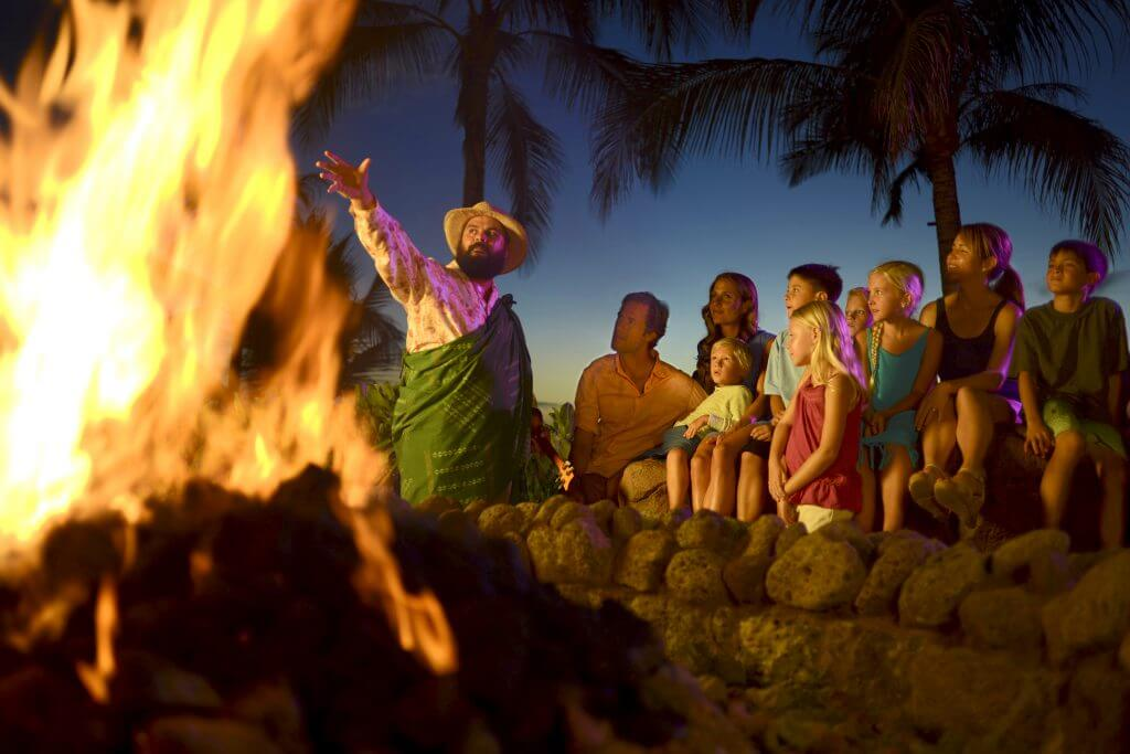 Disney Aulani resort tips featured by top US Disney blog, Marcie and the Mouse: Photo of the Mo`olelo Fire Pit Storytelling at Disney Aulani Resort on Oahu #aulani #oahu