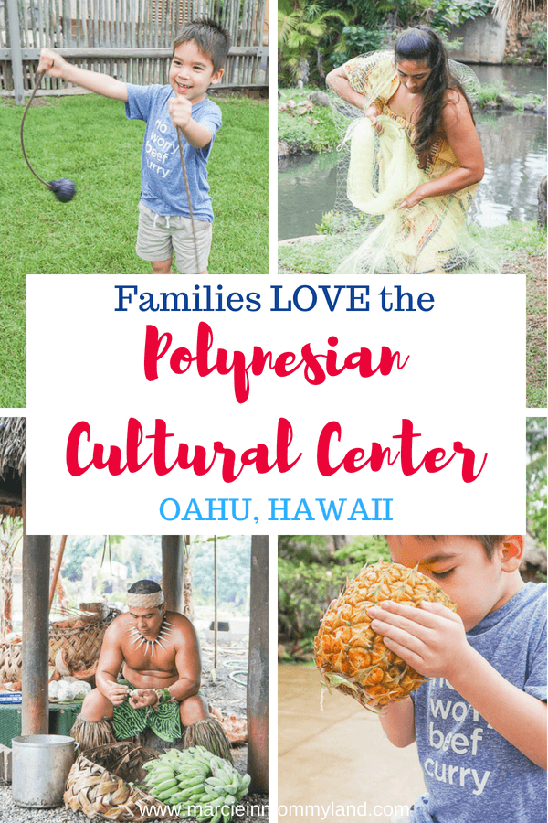 Heading to Oahu with kids? Find out why the Polynesian Cultural Center should be at the top of your list of Oahu attractions! Click to read more or pin to save for later. www.marcieinmommyland.com #polynesianculturalcenter #oahu #oahuattractions #familytravel #hawaii #hawaiianculture