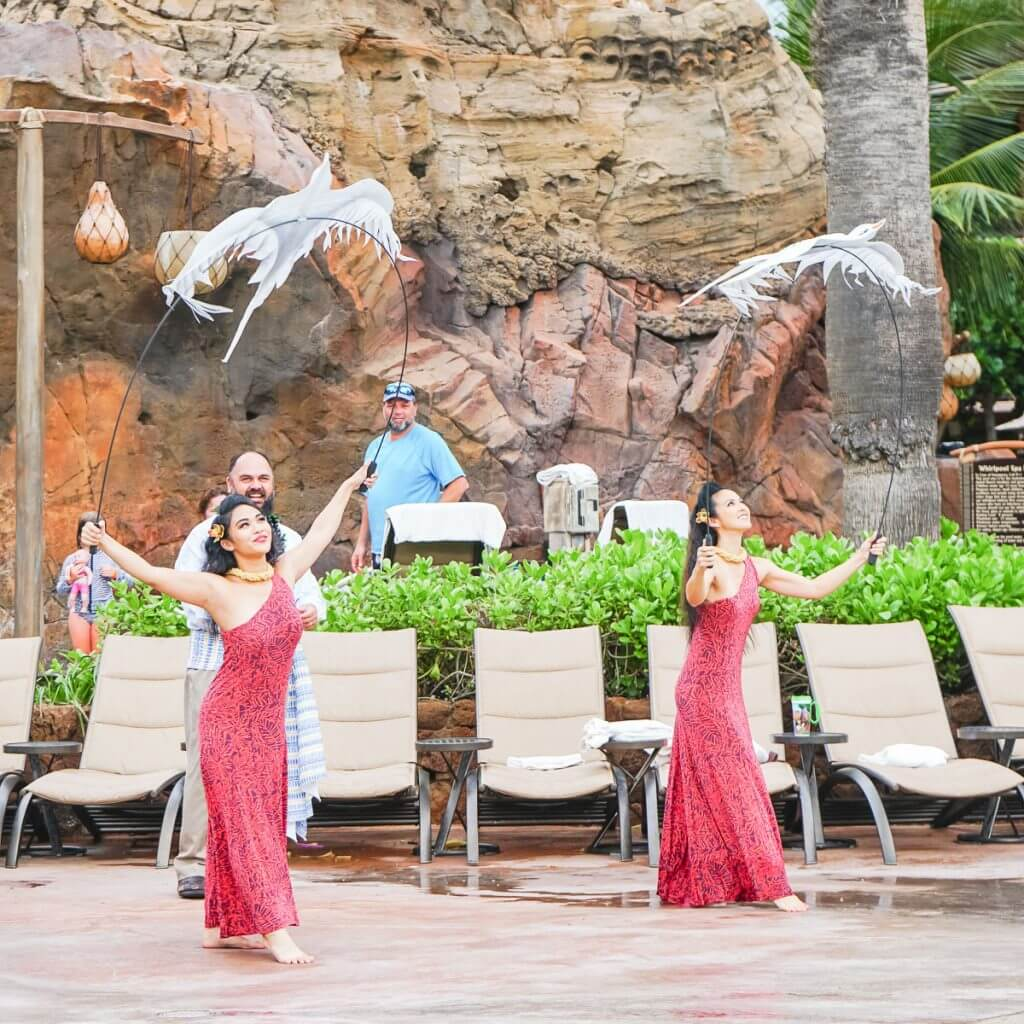 Disney Aulani resort tips featured by top US Disney blog, Marcie and the Mouse: Photo of hula dancers at Disney Aulani Resort in Hawaii #aulani #oahu #hula