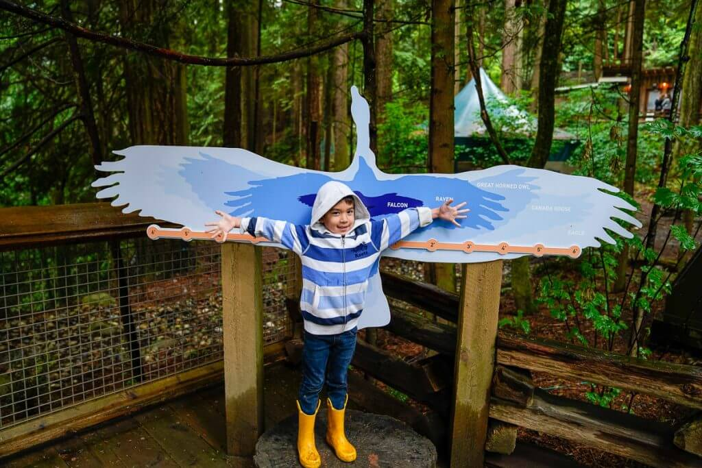 Kids will love all the cool photo spots at Capilano Suspension Bridge Park in Vancouver, British Columbia Canada
