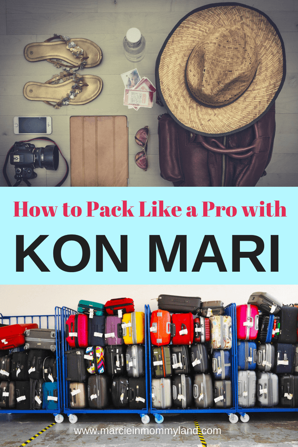 Looking for packing hacks to make family travel easier? Find out how to pack like a pro using KonMari, a Japanese organizational method. Click to read more or pin to save for later. www.marcieinmommyland.com #konmari #mariekondo #packing #packingtips #packinghacks #luggage #suitcase #packingcubes #carryon #roadtrip #flyingwithkids