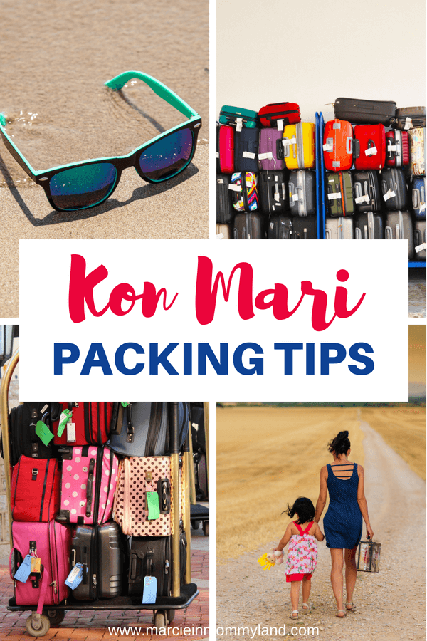 Heading on a trip? Find out how to simplify packing for your family travel using Marie Kondo's KonMari method. Click to read more or pin to save for later. www.marcieinmommyland.com #konmari #packing #packingtips #familytravel #travelwithkids #suitcase #luggage #packinghacks #travelhacks #travel