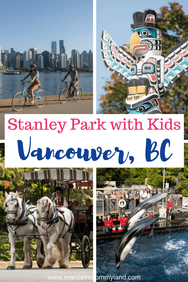 Heading to Vancouver, British Columbia in Canada with kids? Stanley Park is a top family destination and is filled with outdoor activities like cycling, boating, horse drawn carriage tours, the Vancouver Aquarium and more! Click to read more or pin to save for later. www.marcieinmommyland.com #stanleypark #vancouver #vancouverbc #tourismvancouver #explorebc #familytravel #canada