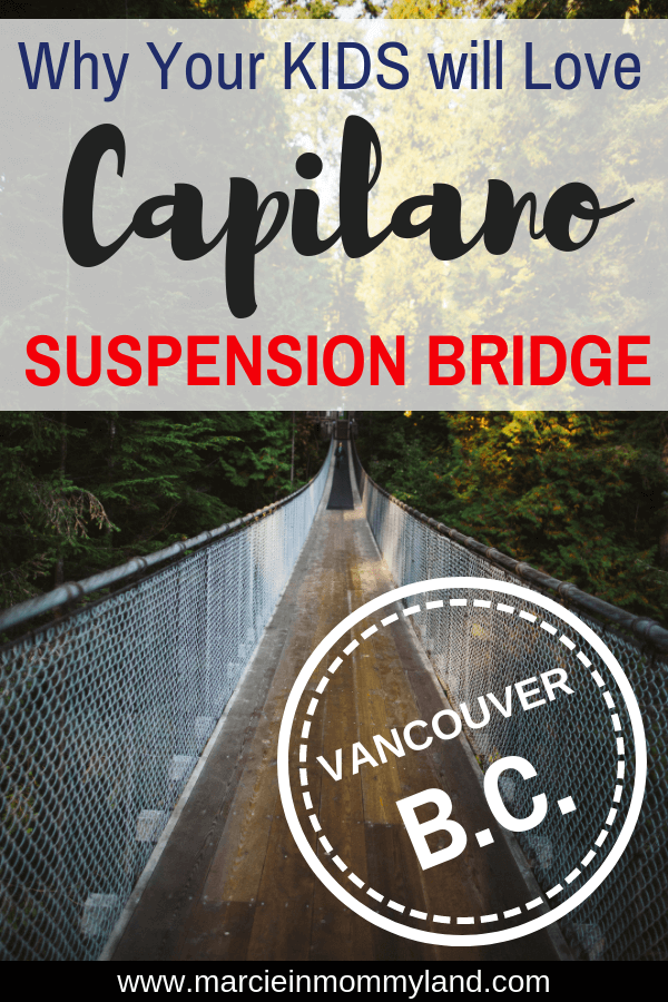 Are you heading to Vancouver, BC with kids? Find out why Capilano Suspension Bridge Park is one of the top attractions in Vancouver for families, including what to do, where to eat, and where to stay. Plus get my top tips for families with babies, toddlers, and preschoolers. Click to read more or pin to save for later. www.marcieinmommyland.com #capilano #vancouver #britishcolumbia #capilanosuspensionbridge #vancouverbc #explorebc