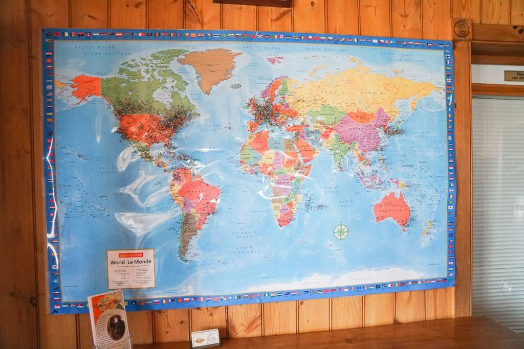 Photo of a world map at an Ile d'Orleans winery near Quebec City in Canada #quebecregion #worldmap #winery #canadianwinery