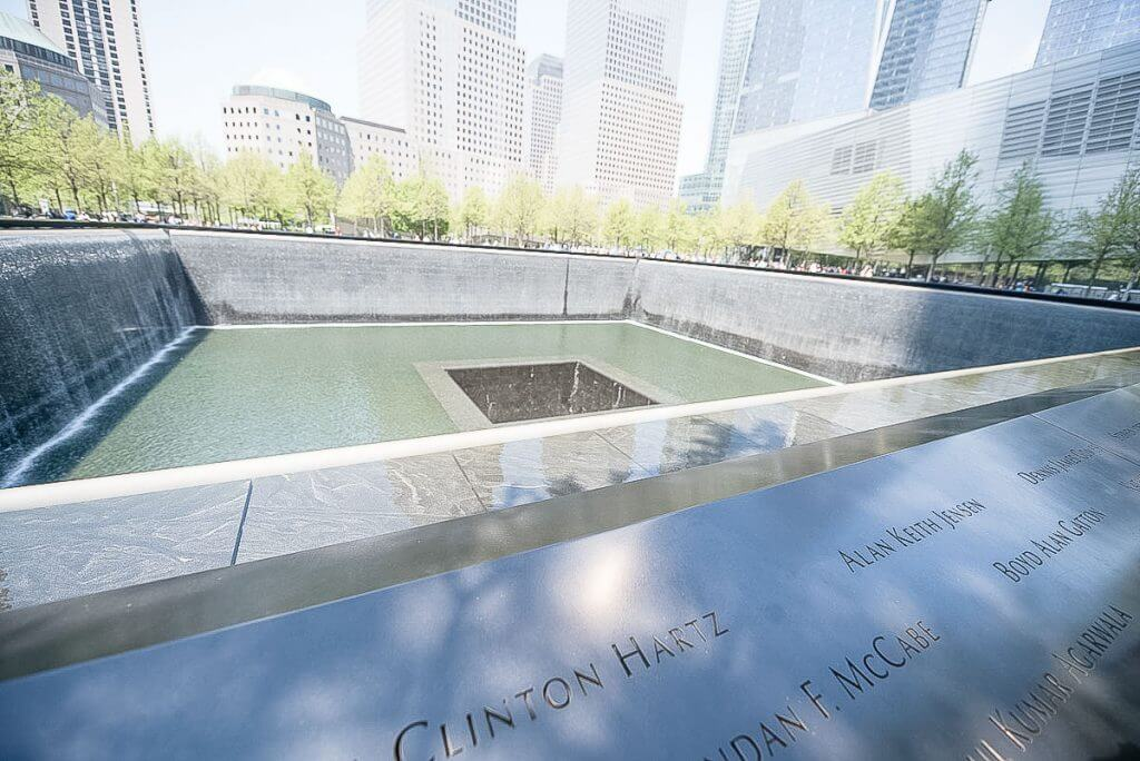 Photo of the memorial fountain a the 9/11 Memorial at the base of the Twin Towers in New York City #worldtradecenter #september11th #sept11th #nyc