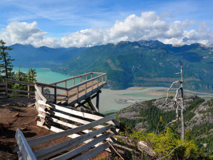 Find out the best Squamish activities for kids recommended by top Seattle blog Marcie in Mommyland. Image of the Sea to Sky Gondola lookout in Squamish British Columbia.