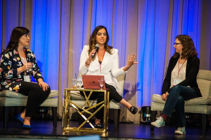 Photo of a panel discussion at the Women in Travel Summit in Quebec City, a travel blogging conference for women #wits18 #womenintravelsummit #travelblog #travelblogging