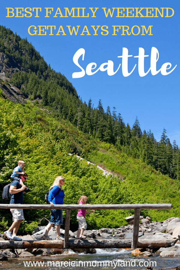 Find out the top 15 weekend getaways from Seattle for families in the Pacific Northwest as rated by local bloggers. Click to read more or pin to save for later. www.marcieinmommyland.com #familytravel #seattle #pacificnorthwest #pnw #explorewa #washingtonstate #oregon #portlandoregon