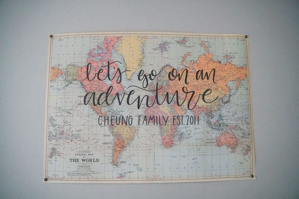 Photo of a hand-lettered vintage map for custom home decor for families who love to travel #wanderlust #handlettering #vintagemap #vintagetravel #worldmap #travelthemed #travelinspired