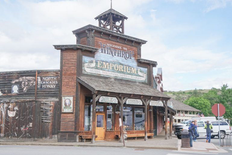 Photo of the Emporium in dowtown Winthrop, Washington, a mining town with a Western theme, perfect for a weekend trip from Seattle #winthrop #wildwest #westerntown #weekendgetaway #familytrip #familyvacation #pnw