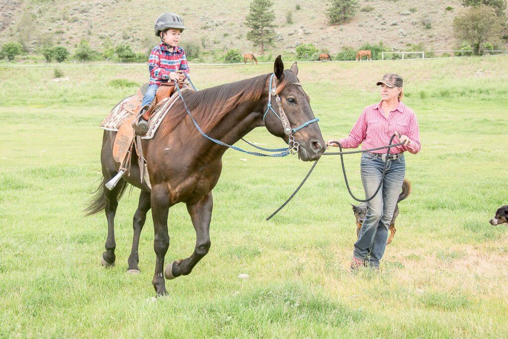 Photo of a kid-friendly horseback riding lesson in Twisp, WA near Winthrop, WA #horses #horseriding #winthrop #winthropwa #twisp #methowvalley #washingtonstate