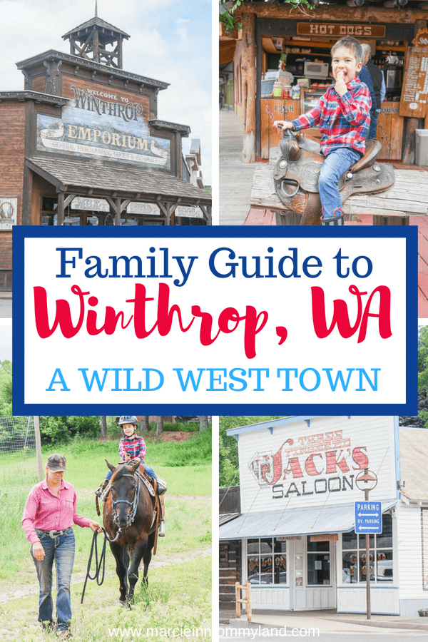 Want to experience a real Wild West town in Washington State? See my family guide to Winthrop, WA located about 4 hours from Seattle, WA. It's a great family getaway from Seattle. Click to read more or pin to save for later. www.marcieinmommyland.com #winthropwa #pacificnorthwest #pnw #explorewa #smalltownwa #methowvalley #wildwest #ghosttown
