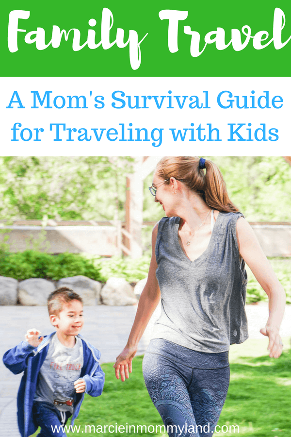 Are you heading out on a family vacation with little kids? Check out my mom's survival guide for traveling with kids. Click to read more or pin to save for later. www.marcieinmommyland.com #familytravel #travelwithkids #roadtrip #summervacation #summertravel