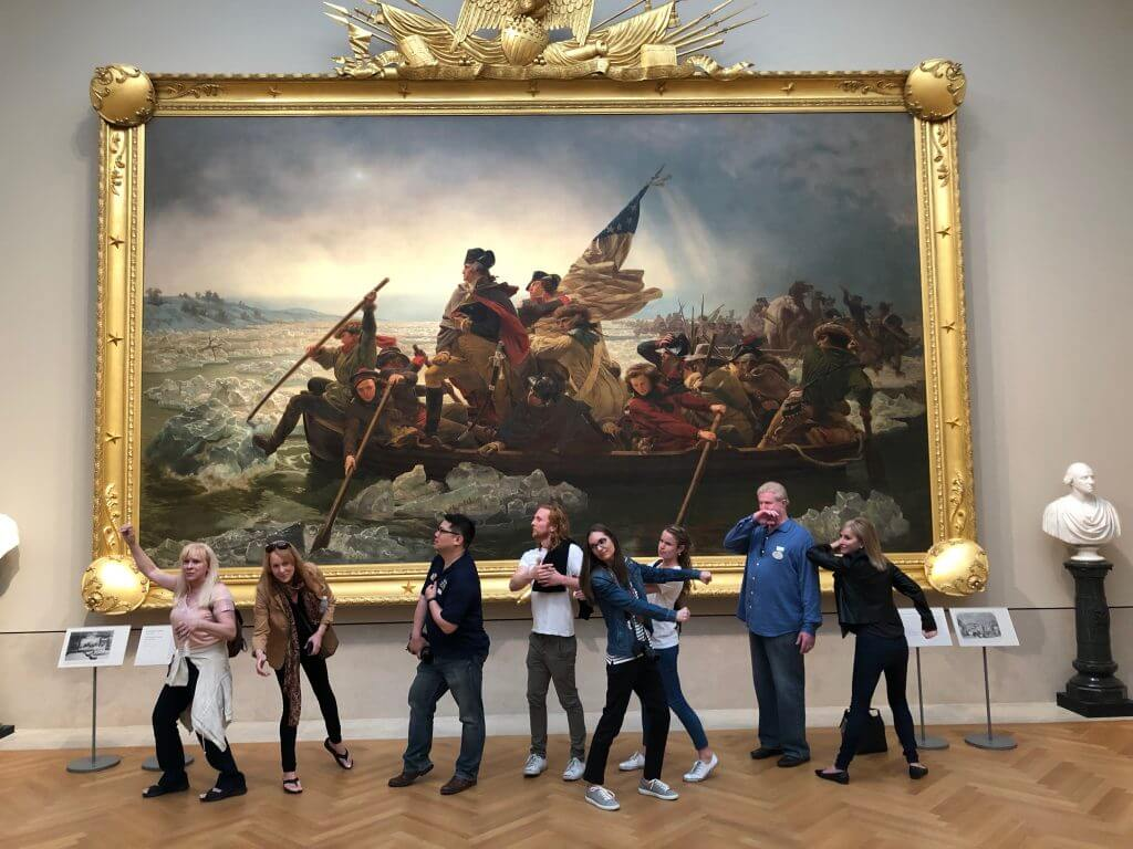 "Photo of the Museum Hack tour recreation of ""Washington Crossing the Delaware"" at The Metropolitan Museum of Art tour in New York City #themet #washingtoncrossingthedelaware #museumhack #nyc #newyorkcity #nyctour"
