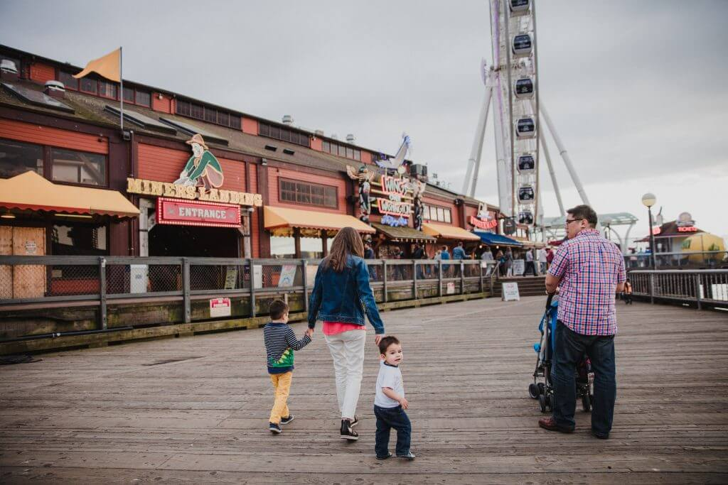 Photo of Pier 57 Seattle, which is home to kid-friendly Seattle attractions like Wings Over Washington, The Seattle Great Wheel, a Seattle waterfront carousel and more. #seattle #visitseattle #pier57 #seattlegreatwheel #minerslanding #wingsoverwashington