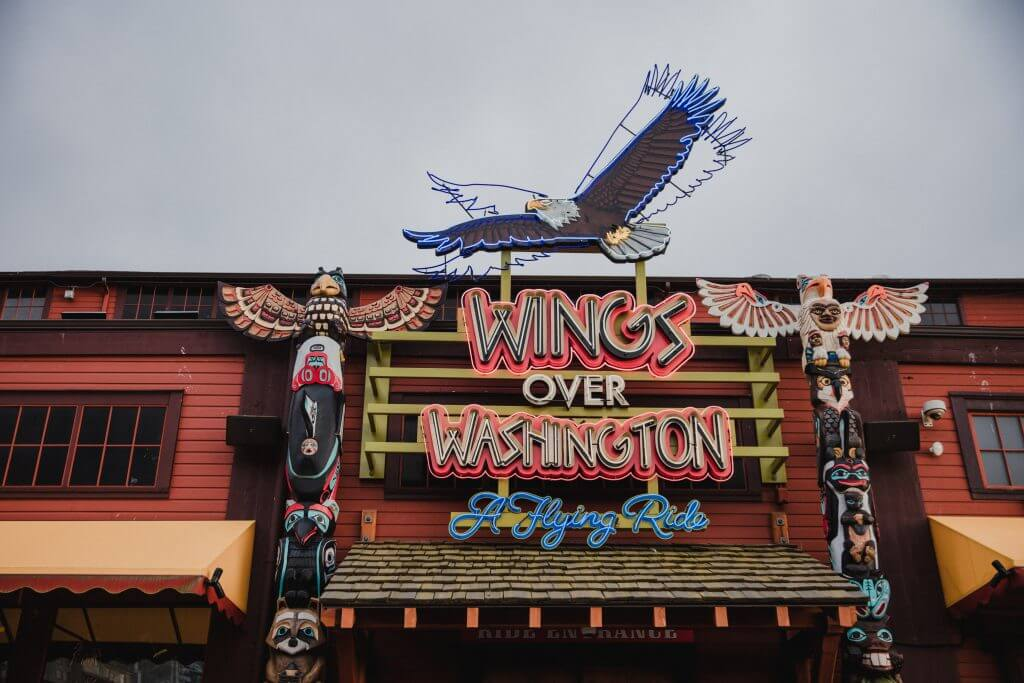 Photo of Wings Over Washington, a family attraction in Seattle for kids #wingsoverwashington #pier57 #minerslanding #visitseattle #seattleattraction