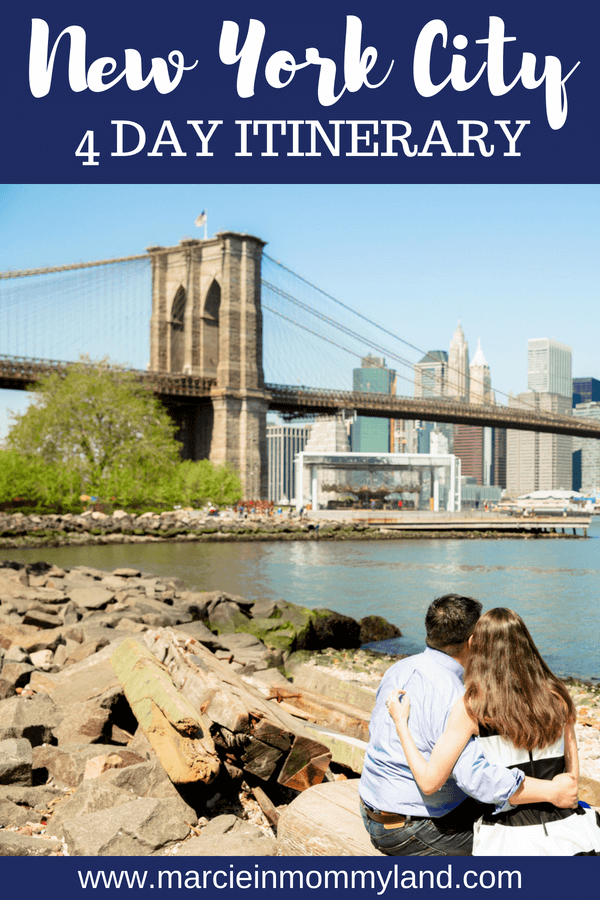 Want to make the most of your first trip to NYC? Read my detailed New York City 4 day itinerary featuring some of the top attarctions in New York City. Click to read more or pin to save for later. www.marcieinmommyland.com #nyc #newyorkcity #nycitinerary #nyctour #4daysinnyc