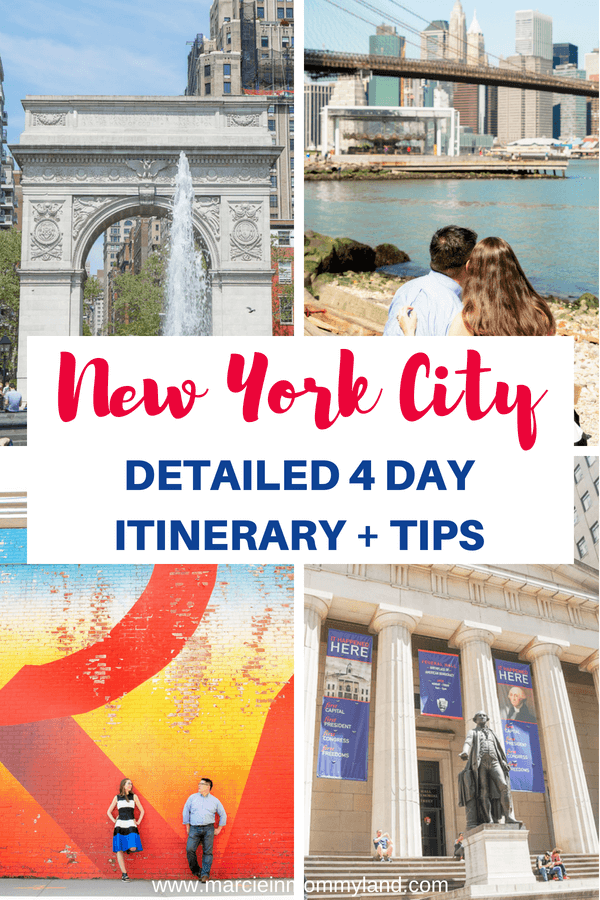 Want a mix of NYC top attractions as well as some unique things to do in New York City? Read my detailed New York City 4 day itinerary and tips for visiting New York City for the first time. Click to read more or pin to save for later. www.marcieinmommyland.com #nyc #nyctour #nycitinerary #newyorkcity #newyorkcityitinerary #nyctips #nyctraveltips