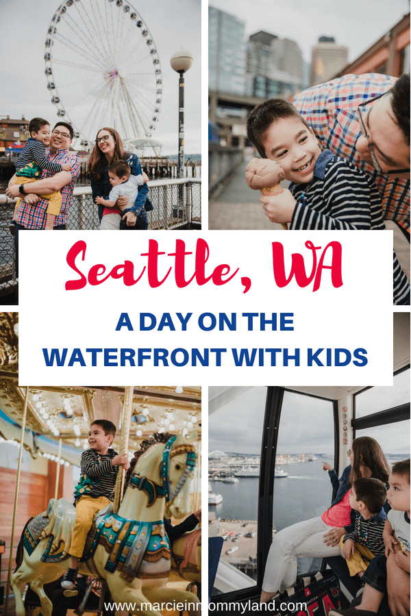 Planning a family vacation to Seattle, WA? Find out how to spend one day on the Seattle waterfront with kids. Get the top kid-friendly Seattle attractions, family-friendly dining options, and Seattle waterfront hotel options. Click to read more or pin to save for later. www.marcieinmommyland.com #seattle #visitseattle #seattleguide #seattleattractions #seattlefamily #familytravel #pnw #pacificnorthwest #washingtonstate #pier57 #minerslanding #wingsoverwashington #seattlegreatwheel