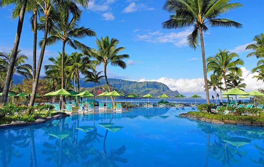 Photo of the St. Regis Princeville hotel on the North Shore of Kauai, Hawaii. It's one of the best places to stay on Kauai #kauai #hawaii #kauaihotel #resort #stregis #stregisprinceville #stregiskauai