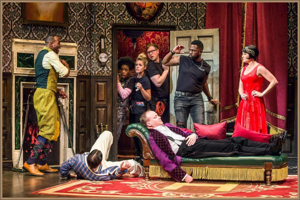 Photo of The Play that Goes Wrong on Broadway. Photo credit: Simon Turtle, Jeremy Daniel, and Matthew Murphy #theplaythatgoeswrong #broadway #newyorkcity