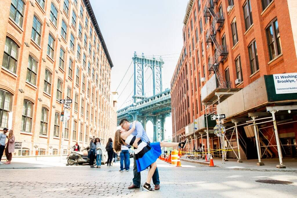 Photo in front of the Brooklyn Bridge at a popular NYC instagram spot in Brooklyn's DUMBO neighborhood #dumbo #flytographer #brooklyn #nycphotographer #nycphotospot