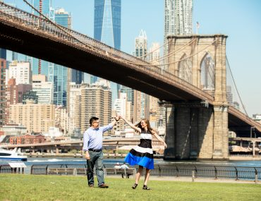 Photo in front of the Brooklyn Bridge in New York City, which is a top attraction in NYC. Photo is by Armondo from Flytographer. #nyc #newyorkcity #brooklynbridge #flytographer