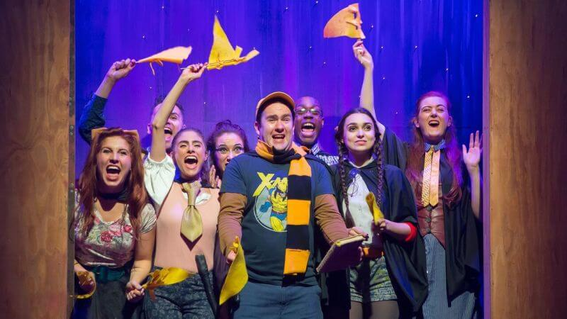 "Photo of the off-Broadway cast of ""Puffs"" a Harry Potter inspired play in New York City #harrypotter #jkrowling #puffs #hufflepuff"