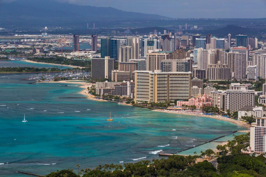 Photo of Waikiki hotels and urban Honolulu on Oahu #oahu #waikiki #honolulu #waikikihotels