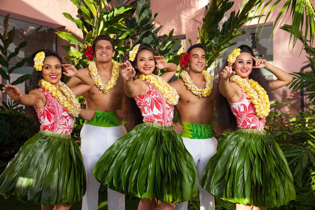 Royal Hawaiian Resort hula dancers at a Waikiki, Oahu luau