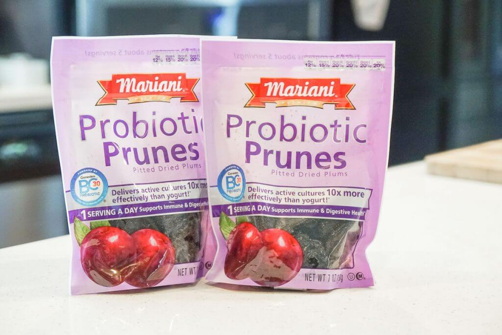Photo of Mariani Probiotic Pitted Prunes, which help with digestive health and keep your gut healthy. #marianisuperprunes #probiotic #healthysnacks #toddlersnacks