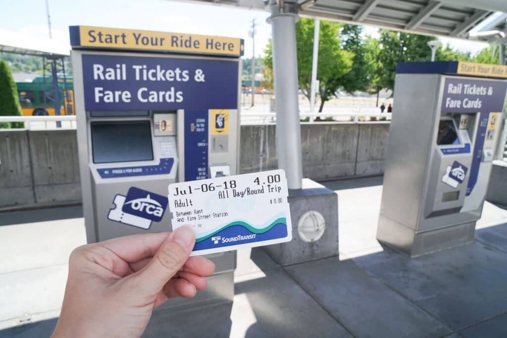 Photo of the Sound Transit ticket booths at Kent Station in Kent, WA to purchase tickets on the Sound Transit Sounder Train for a play date #soundtransit #kentstation #kentwashington #visitkent #sounder #soundertrain
