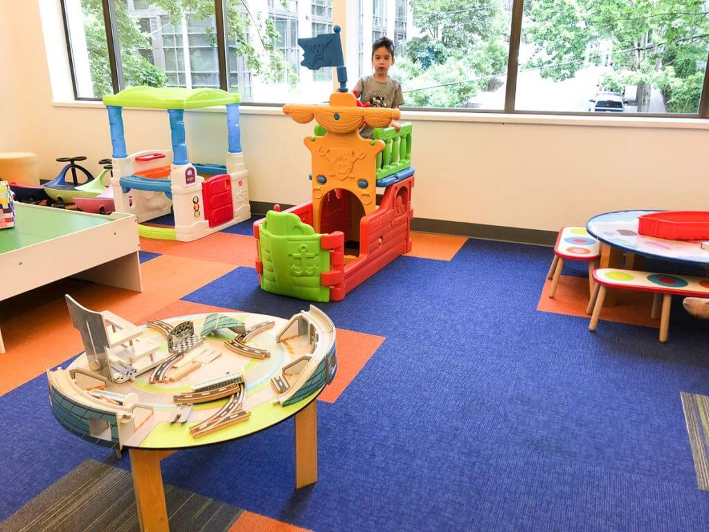 Photo of the waiting area at the Zulily HQ in Seattle, Washington #zulily #zulilyhq #belltown #playarea #waitingroom