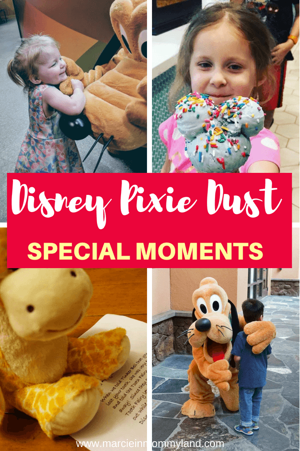 Have you heard about Disney Cast Members going the extra mile with special Disney surprises to unsuspecting guests? Read about these special Disney moments! Click to read more or pin to save for later. www.marcieinmommyland.com #disney #disneysmmc #disneymoms #disneyfamily #disneypixiedust #pixiedust