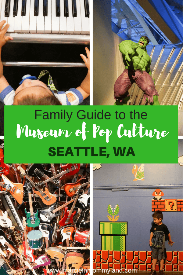Heading to Seattle Center with kids? Check out this family guide to experiencing the Museum of Pop Culture (MoPOP) with little kids. Click to read more or pin to save for later. www.marcieinmommyland.com #mopopculture #seattlecenter #visitseattle #familytravel #seattlewa #pnw