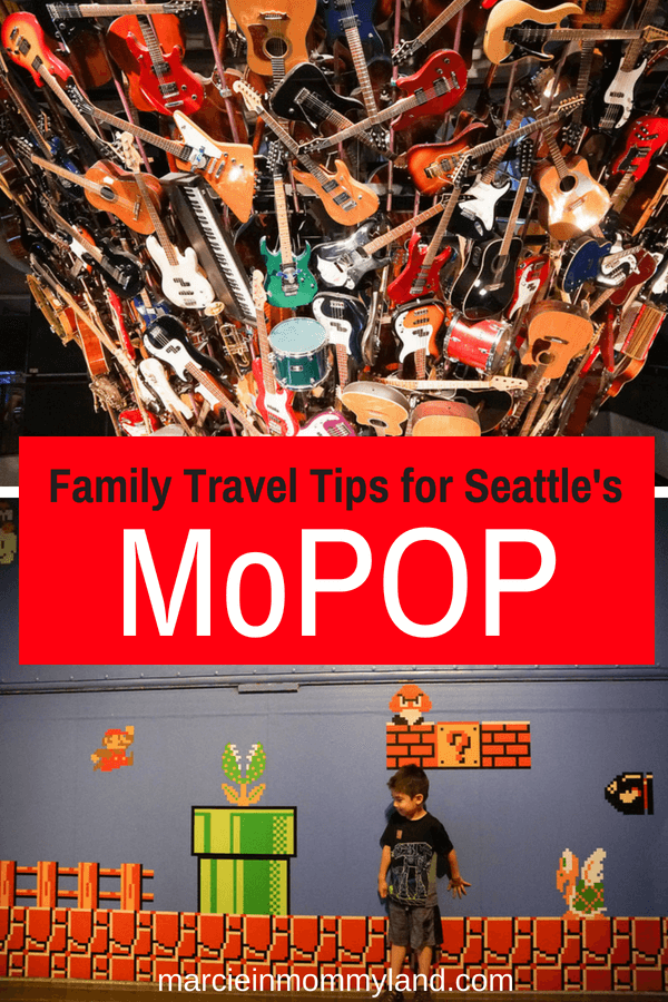Visiting Seattle with kids? Find out everything you need to know about the Museum of Pop Culture (MoPOP) at Seattle Center. Click to read more or pin to save for later. www.marcieinmommyland.com #mopopculture #seattlecenter #visitseattle #seattlewithkids #familytravel