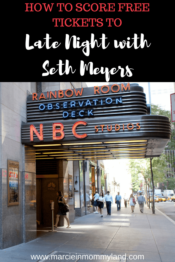 Looking for a free thing to do in NYC? How about free tickets to Late Night with Seth Meyers at NBC Studios at Rockefeller Center? Find out exactly how to get Seth Meyers tickets and helpful tips before your go. Click to read more or pin to save for later. www.marcieinmommyland.com #sethmeyers #latenightwithsethmeyers #nyc #nbcstudios #rockefellercenter #studio8h