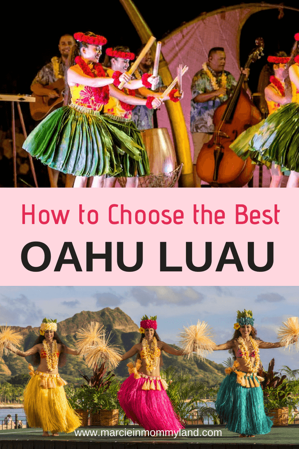 Choosing the best Oahu luau for your family can be tough! See which ones have the best entertainment, allergy-friendly food options, shuttles from Waikiki, or most unique cultural activities. Plus, find out if your kids can eat for free! Click to read more or pin to save for later. www.marcieinmommyland.com #oahu #hawaii #luau #hawaiianluau #hawaiianfood #oahuactivity #waikiki #honolulu #aulani #disney #polynesianculturalcenter #waimeavalley #waikikiaquarium
