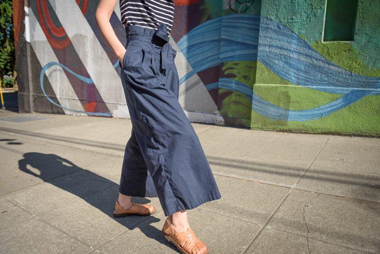Photo of custom pants from eShakti, an online company specializing in custom pants, custom dresses, and custom jumpsuits for women #eshakti #customclothing #paperbagpants