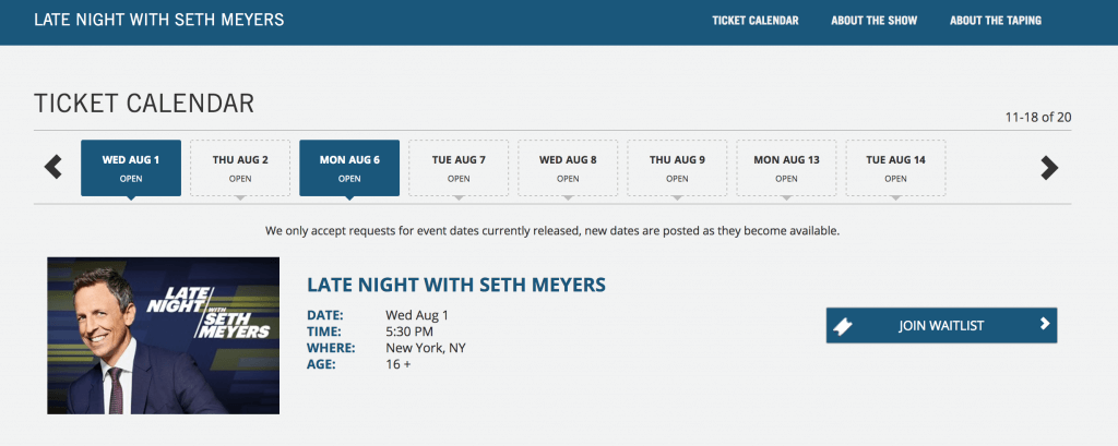 Screenshot of how to reserve free tickets to Late Night with Seth Meyers #sethmeyers #nbc #rockefellercenter #latenight #freetickets